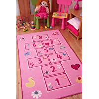 The Rug House Colourful Bright Pink Playtime Girls Hopscotch Kids Rugs