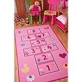 Tapetes coloridos y brillantes, con juego de rayuela / golosa. Para niñas. En rosa / rosado 80x150cm