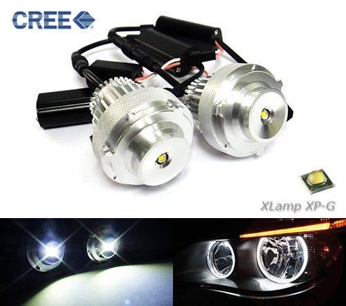 Preisvergleich Produktbild 2x E60 E61 LCI 5 Serie Halogen Scheinwerfer Cree LED Angel Eye Halo Ring Glühbirne