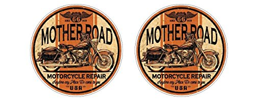 Oldschool Motorcycles Motorrad Motherroad Route 66 Vintage Chopper Aufkleber Sticker Decal Autocollants Pegatinas / Plus Schlüsselringanhänger aus Kokosnuss-Schale / Auto Motorrad Laptop Notebook Koffer Skateboard Snowboard Tuning Racing Motorsport -