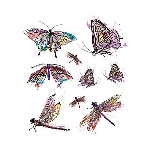 DaoRier Temporary Tattoo Bunt Dragonfly Schmetterling Tätowierungs Aufkleber Wasserdichter Körperkunst Entfernbare Tattoo Aufkleber