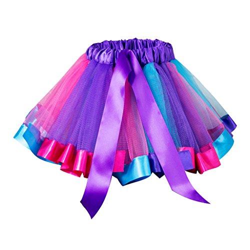MagiDeal Mädchen Tutu Dance Kids Dress Up Kurzer Rock Pettiskirt Purple - Regenbogen, M (2-4 Jahre)