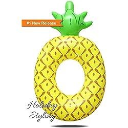 Flotador inflable de la piscina de la piña, juguetes inflables divertidos de la fiesta de la piscina Vacaciones al aire libre tumbonas de la playa Río Raft Lake Ride-ons para los adultos y los niños (amarillo)