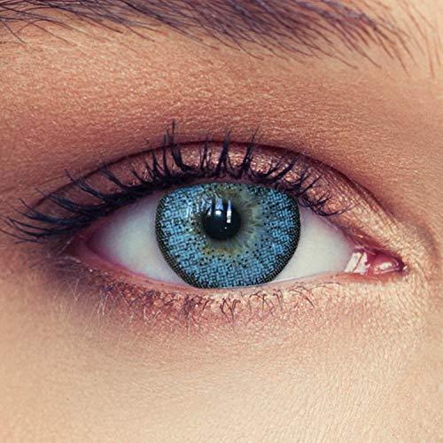2 Blaue Kontaktlinsen mit Stärke -3,75