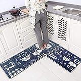 Leebei Küchenmatten Anti-Rutsch Waschbar Flanell Fußmatte Innenbereich Teppiche Küchenteppich Küchenläufer Matte (Küche, 15,7×23,6 Zoll + 15,7×47,2 Zoll)