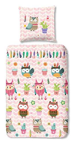 Aminata Kids - Kinder-Bettwäsche-Set 135-x-200 cm Eule-n-Motiv Vögel Wald-Tier-e 100-% Baumwolle Renforce bunt-e rosa (Mädchen Für Eule Bettwäsche Schlafzimmer)