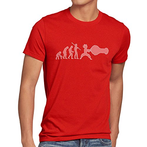 style3 Sayalution Herren T-Shirt Evolution Goku Dragon Rot