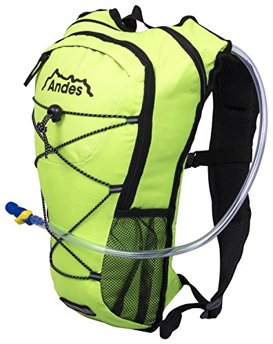 Andes 2 Litre Bright Green Hydration Pack/Backpack Running/Cycling with Water Bladder/Pockets