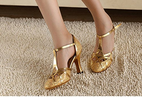 CFP jj-6133Damen Latin Tango Cha-Cha Salsa Ballsaal 6,1cm/8,4cm Custom Ferse Schlepplift PU Dance Schuhe Gold