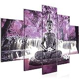 Bilder Buddha Wasserfall Wandbild 150 x 100 cm Vlies - Leinwand Bild XXL Format Wandbilder Wohnzimmer Wohnung Deko Kunstdrucke Rosa Grau 5 Teilig -100% MADE IN GERMANY - Fertig zum Aufhängen 503553c