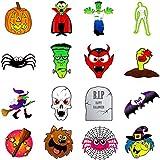 German Trendseller® - 36 x tatouage éphérmè pour des enfants┃ halloween┃diable, sorcière, Frankenstein, crâne, vampire, momie, pierre tombale, chauve-souris, areignée, citrouille