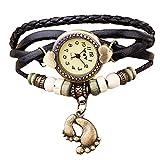 Kaiki Montre Quartz Boho Bracelet Bande de Corde Bresilien Ajustable Tisse avec...