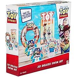 Sambro DTS-3447 - Set mit Schwimmring (ca. 50 cm), Wasserball (ca. 40 cm), Schwimmflügel und Luftmatratze (ca. 67,5 x 73 cm), Toy Story, 3 bis 6 Jahre, mit Sicherheitsventil, ideal für Pool