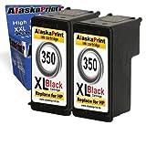 Alaskaprint 2x Refilled Cartucce d'Inchiostro compatibile con HP 350XL Stampanti Sostituzione per HP Deskjet D4200 D4260 D5360 D4263 D4300 D4360 D4363 D4368 D5345 DeskJet 4360 HP Officejet J6413 J6415 J5735 J5788 J6405 J5738 J5740 J5750 J645 J6450 J7500 J6480 J6488 J 5785 HP Photosmart C5290 C5270 C5273 C5275 C5283 C5580 C6280 C7280 hp deskjet j4524 hp deskjet j4580hp officejet j4580 c4280 c4480 hp photosmart c5280 HP Officejet J5780, Alta Capacità,Con l'ultimo chip (2Nero)