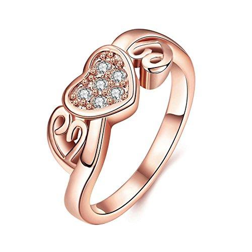 Gnzoe Schmuck Damen Rosa Vergoldet Finger Ringe Elegant Design Hohl Drei Herz Form Eheringe Band mit CZ Zirkonia Rose Gold Gr.57 (18.1) (Ringe Zales Versprechen)