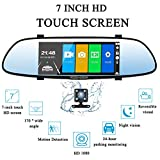 7 Inch Touch Rearview Mirror Dual Lens Car DVR Dash Backup Camera Vehicles Mirror Monitor Kit FHD 1080P 170-degree Wide Angle Lens with G-Senor for Driving Recording