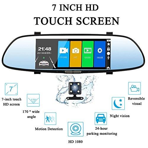 CUagain 7 Zoll Rückspiegel mit Rückfahrkamera Monitor Dash Cam Auto Fahren Recorder Full HD 1080P Dual Lens LED Nachtsicht Der Sicherheits Car DVR Kamera