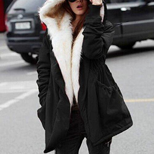 iBaste Winterjacke Damen Mantel verdickte Parka mit Kapuzen Damen Herbst Trenchcoat Outerwear Schwarz
