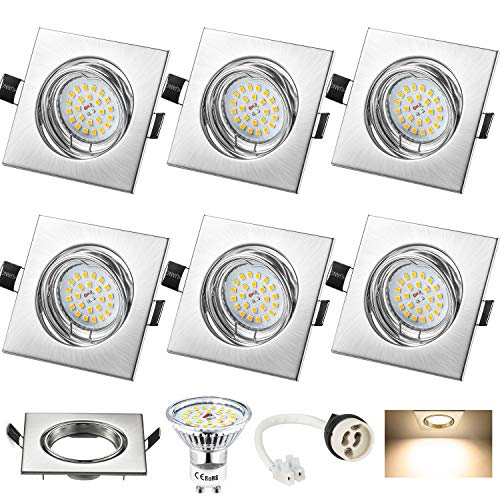 Foco Empotrable LED Techo, Wowatt 6x GU10 LED Spots Blanco Cálido 2800K...