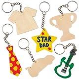 Schlüsselanhänger aus Holz für Kinder zum Basteln als Geschenk zum Vatertag (8 Stück)