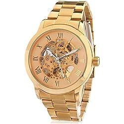 Alienwork mechanische Automatik Armbanduhr Skelett Automatikuhr Uhr gold Metall W9269-06