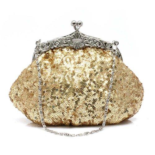 KAXIDY Donna Borsa Raso Pochette Paillettes Frizione Borse Sacchetto Sera Oro