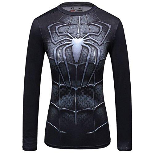Cody Lundin Damen Spinne gedrucktes Logo Shirt weibliche funktionelle Outdoor-Style Party Sport Langarm (XL, Spinne A)