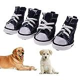 Rrimin 4pcs Denim Pet Dog Shoes Anti-slip Waterproof Sneakers Booties(Blue)(05)
