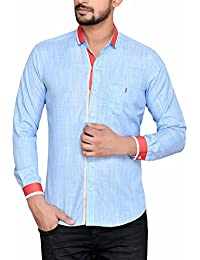 PP Shirts Men Sky Blue Colored Solid Shirt