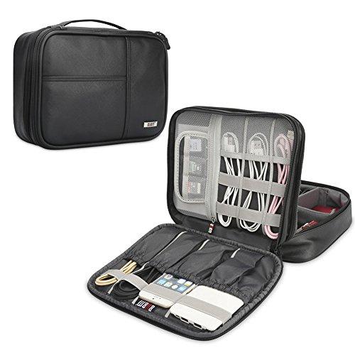 BUBM Organizador para Eléctronica Estuche para iPad Bolsa de Cables Funda de Bantería Extra(Medio, PU Negro)