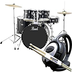 PEARL Road Show RS525SC/C31 Jet Black Drum Set + Keepdrum Drumsticks and Headphones