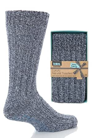 Mens 1 Pair Totes Naturals Wool Blend Slipper Socks - One Size - Denim