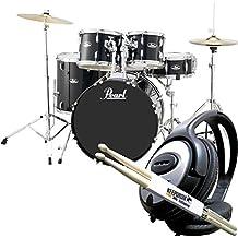 Pearl Road Show rs525sc/C31Jet Set de batería para Black + baquetas Keepdrum & Auriculares