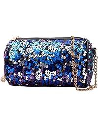 bolsos mujer baratos, bolsos bandolera de mujer Bolso bandolera mujer cuero PU lentejuelas Bolso de hombro del teléfono de la moneda desigual bolsos pequeña Crossbody Bag Coin Bag Phone Bag (Azul)