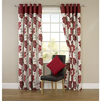 Pair Of Beautifully printed Red Molly Flower Eyelet Curtain. Size: 66inx72in
