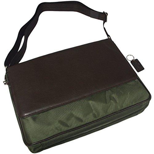 Leder/Nylon Business Tasche FLORENTINO braun/olivegrün