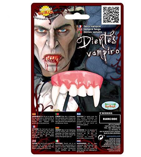 Fiestas Guirca Karneval Fasching Vampirzähne Oben Zähne Unisex Blut Halloween rot weiß 5 cm