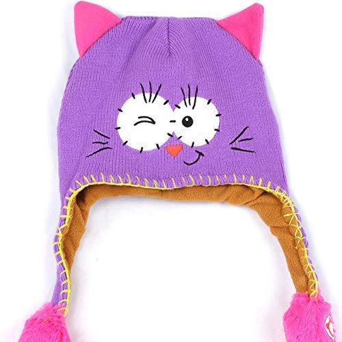 Kleinkind Baby Warmer Hut, Reizende Karikatur Nette Mädchen & Jungen Winter Warme Baumwollhut Kappen Kinder Strickten Ohrenschützer mit Beweglichen Ohren Hut Kappe (Purple)