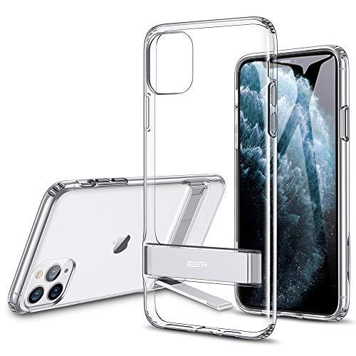 """ESR Coque pour iPhone 11 Pro Transparente, Coque Silicone avec Support Béquille Métal Multi-Angles, Protection Double Couche Multi-Fonctionnel pour iPhone 11 Pro (2019) 5,8"""" (Série Elite, Transparent)"""