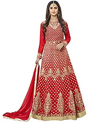 Lajree Designer Women's Silk New Arrival Fancy Salwar suit for Wedding Wear Punjabi Salwar Kameez Floor Length semi stitched Red color(LN-12097)