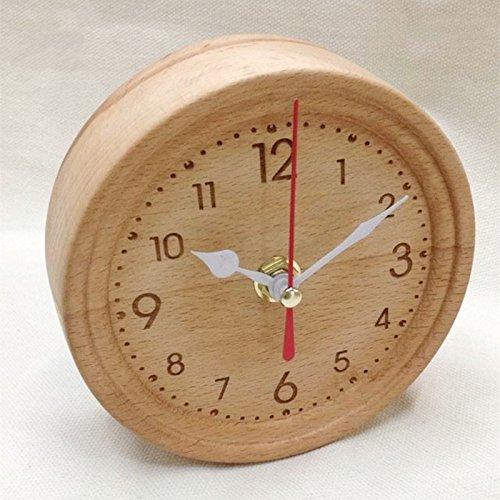 XBR Tabelle Uhr, nachttisch, Tisch -, Square stumm Uhr Holz einfach hängen kleine kreative Uhr (Kleine Uhr Hängen)