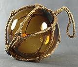 Deko - Fischerkugel aus Glas BASIC in amber braun/gelb mit Tauwerk - verschiedene Größen (10 cm Ø)