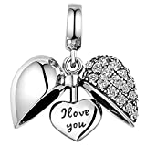 925 Sterling Silber I love you Herz Kristall Charm Bead für Pandora Armbänder
