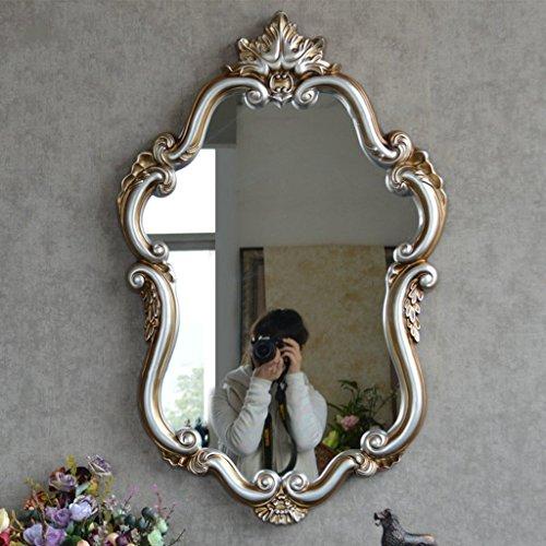 Espejo - espejo del baño para colgar en la pared de entrada vestidor espejo antiguo Retro decorativas resina patrón tallado Espejo maquillaje resistente al agua de lavado moderna Espejo espejo ( Color : Plata antiguo )