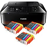CANON PIXMA MX725 MX-725 ALL-IN ONE farbtintenstrahl-multifunktionsgerät (Stampante,Scanner,fotocopiatrice,FAX,USB,WLAN,LAN,Apple AirPrint) NERO + ic-office XL Cartucce di Inchiostro 550XL 551XL (
