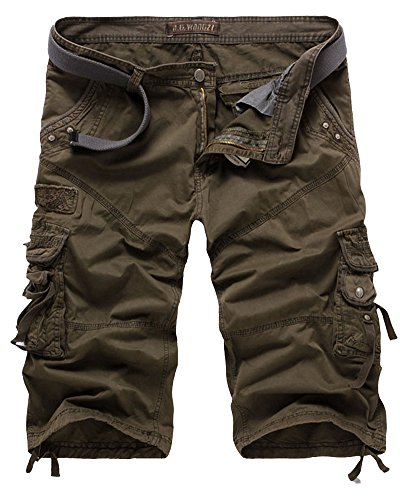 Armee Camouflage Shorts (QitunC Cargo Shorts Herren Kurze Hose Lässig Bermuda Cargoshorts 3/4 Shorts Armee-Grün 36)