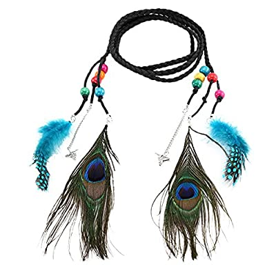 Women Bohemian Belt, Quaan Braided Rope artficial for Peacock Feather Fringe Belt Waist Belt Elastic