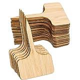 Shumo 50 Piezas de Etiquetas de Plantas de Bambú,De Letreros de Plantas de Madera de Tipo T...