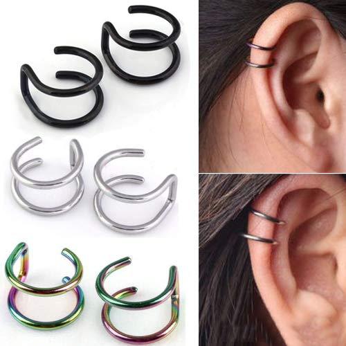 Sanwood 2-Row Mode Persönlichkeit Trend Edelstahl Gefälschte Knorpel Ohr Nase Lippenmanschette Clip On Ohrringe Geschenk Regenbogen