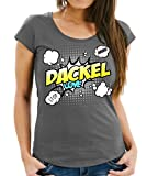 WOMEN T-Shirt - DACKEL Teckel Wiener Jagdhund - COMIC Cartoon Fun Siviwonder dark grey XL - 40